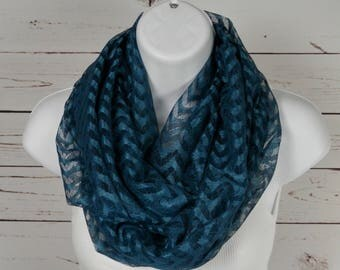 Chevron Infinity Scarf Teal Blue Sheer Chevron Lace Double Loop Scarf Handmade by Thimbledoodle