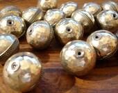 Moroccan shiny hammered medium round ornate bead
