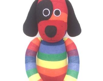 Dexter the Sock Dog - rainbow - *READY TO SHIP*