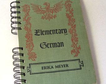 1954 ELEMENTARY GERMAN Handmade Journal Vintage Upcycled Book German Travel Diary