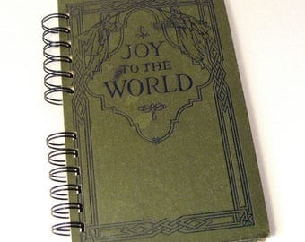 1915 JOY TO WORLD Handmade Journal Vintage Upcycled Book Gift for Choir Director