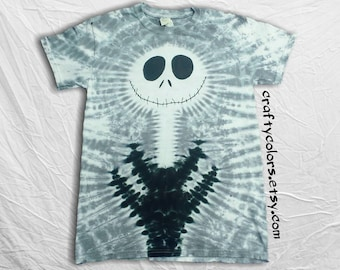Tie Dye inspired by Jack Skellington Nightmare Before Christmas Halloween T Shirt Adult Sizes