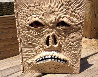 Necronomicon decorated book wooden box with drawer Glass eyes OOAK artwork prop cosplay Evil Dead