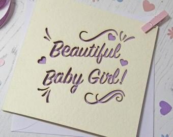 Beautiful Baby Girl Laser Cut Card