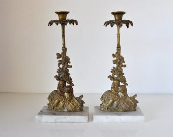 Vintage Marble and Brass Candlesticks Girl and Dog