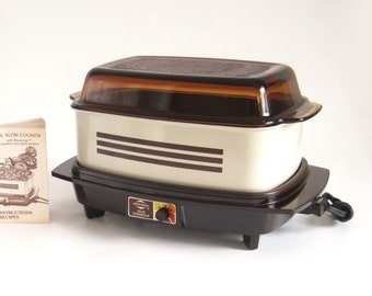 Slow Cooker West Bend 84114 4 qt Rectangular Vintage Almond Brown