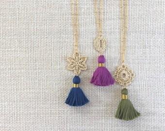 Tassel & Lace Necklace || Tassel Necklace, Filigree Necklace, Lace Necklace, Long Necklace, Bohemian Necklace, Pantone Colors, Boho Necklace