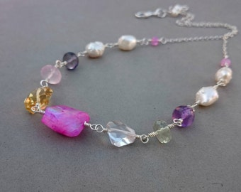 Multi Gemstone Necklace - Pink Moonstone Necklace with Green Amethyst, Purple Amethyst, Freshwater Pearl, Rock Crystal and Sterling Silver