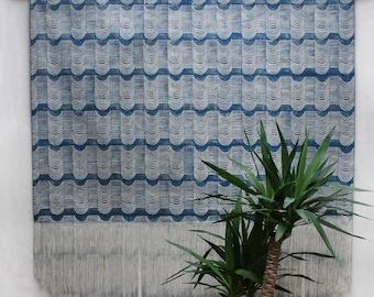 Extra Large Wave Block Printed Fringe Wall Hanging