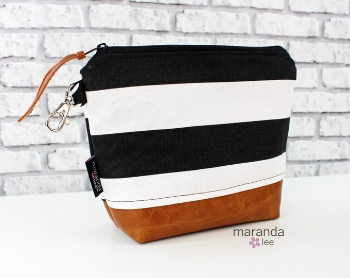 AVA Medium Clutch - Black Stripes with PU Leather READY to SHIp Cosmetic bag Travel Make Up Zipper Pouch