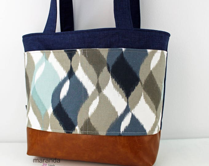 Lulu Large Tote - Navy Denim  with Finley Blue Pocket