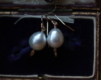 On Hold for M. White Pearl Earrings, Pearl Drop Earrings, South Sea Pearls, Gold Pearl Earrings, Long Pearl Earrings, June Birthstone.