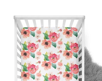 Fitted Crib Sheet Floral Dreams White- Coral Crib Sheet- Floral Crib Sheet- Baby Bedding- Coral Crib Bedding- Organic Sheet-Soft Minky Sheet