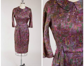 Vintage 1950s Dress • Heaven Sent • Purple Green Novelty Print Acetate Satin 50s Dress Size Small