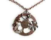 Steampunk Silver & Copper Gears Necklace - Industrial Neo-Victorian Upcycled Gear Ooak Clock Floral Wired Machine Watch Pendant Goth Jewelry
