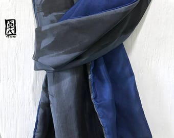 Mens Scarf, Fathers Day Gift, Hand painted Silk Scarf, Reversible Navy Blue and Gray Japanese Scarf, Zen Bamboo, 15x72 inches.