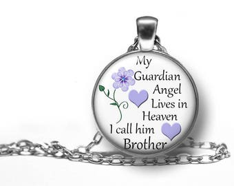 """Brother, My Guardian Angel In Heaven, Remembrance, Pendant, Necklace, In Memory Of, Memorial, Keepsake, Gift, Antique Silver, 18"""" Chain,"""