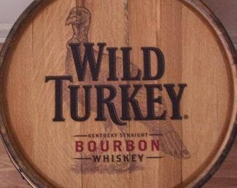 Wild Turkey Kentucky Straight Bourbon Sanded-Finished Whiskey Barrel-FREE SHIPPING