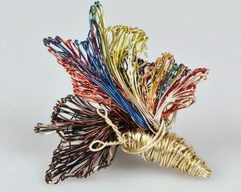 Yellow Butterfly brooch pin Wire jewelry Modern brooch Art jewelry Unusual jewelry Statement jewelry Mothers jewelry Contemporary jewelry