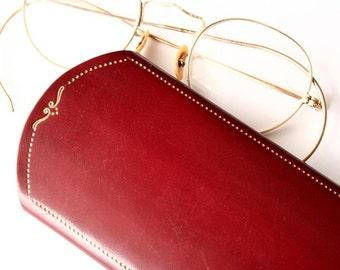Vintage Eyeglass case, eyeglass sleeve, cordovan leather