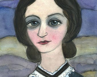Literary Art Print, Charlotte Bronte Art Print, Writers Portrait, Jane Eyre Art, (6x8) Literary Illustration, Classic Fiction Art
