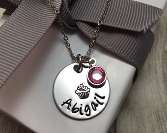 Cupcake, little girls necklace hand stamped, girls