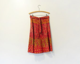 Vintage 70's Boho / Hippie Indian Print Cotton Wrap Skirt Red