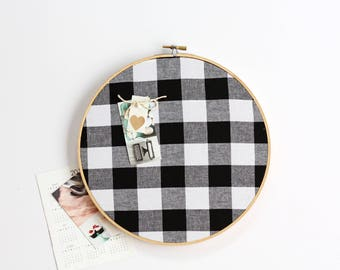 Gingham Cork Board, Memo Board, Embroidery Hoop, Office Decor,  Organizer, Wall Decor, Home Office, Home Decor, Buffalo Check, Black  White