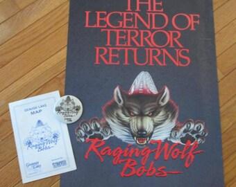 Vintage Geauga Lake Raging Wolf Bobs poster pin amusement park map original poster