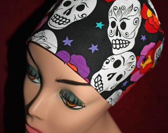 Skulls and Flowers Surgical Cap (biker/chemo/surgical) - BACK IN STOCK!