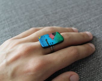 Adjustable Handmade Art Ring -- Polymer Clay and Foil Jewelry