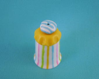 Polymer Clay Hand Sculpted DONUT on Bone China Porcelain Thimble