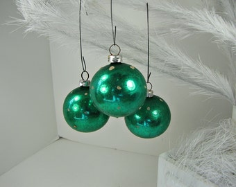 Vintage MERCURY Glass ORNAMENTS Set/9 Emerald Green West Germany Christmas Tree Decor