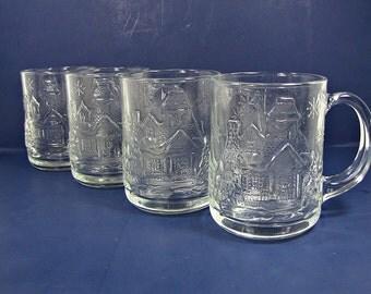 Vintage WiNTER WONDERLAND COFFEE MUG Set/4 Glass Arcoroc Holiday