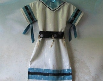 Girl's Native American Costume Dress With Fully Lined Separate Collar & Belt: All Cotton Fabric - Size 3 To 8 - Ready To Ship