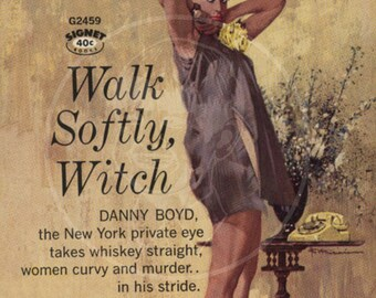 Walk Softly Witch - 10x17 Giclée Canvas Print of a Vintage Pulp Paperback Cover
