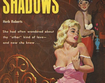 Love in the Shadows - 10 x 17 Giclée Canvas Print of a Vintage Lesbian Pulp Paperback Cover