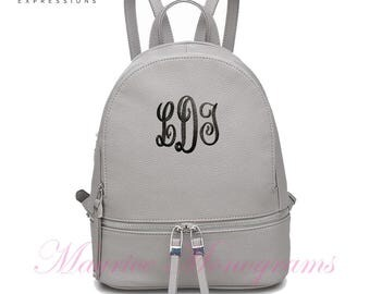 Personalized Gray Urban Expressions Vegan Leather Backpack Purse or Diaperbag