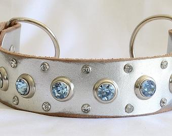 Silver Leather Martingale Dog Collar, Metallic Leather Martingale Collar,  Training Collar, Custom Martingale Dog Collar - Sizes 13-22