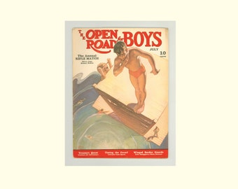 The Open Road for Boys Magazine July 1939 Issue, Adventure Stories, Border Patrol, Westerns, Swimming & Tennis Sports, Vintage Periodical