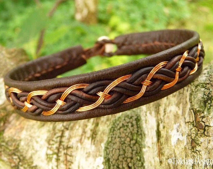 Unisex Sami Viking Copper and Leather Bracelet Cuff DRAUPNIR Handcrafted in your size and 30 colors to choose from