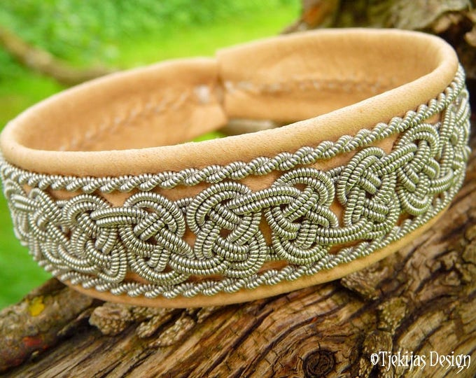 Swedish Viking Bracelet Cuff BEOWULF Sami Bracelet in Natural Reindeer Leather with Spun Pewter Braids - A Handmade Piece Of The North