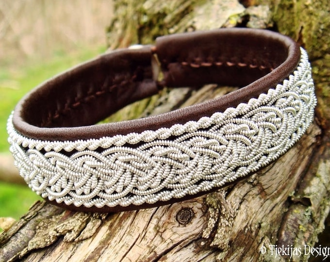 Viking Lapland Leather Pewter Sami Bracelet | GRANI Unisex Antique Brown Leather Cuff | Handcrafted Nordic Elegance in Your Size and Color