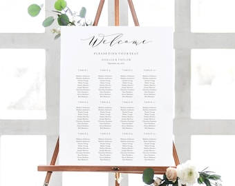 Editable Template - Instant Download Soft Calligraphy Guest Seating Chart