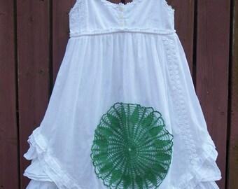 Girl's BOHO White Lace Dress with Kelly Green Doily/Flower Girl/Little Girl Size 8