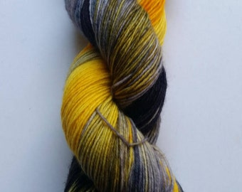 Yellow Cab: hand dyed variegated Merino sock yarn by Star Fiber Studio