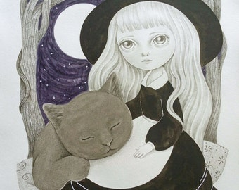 Halloween Themed Art Original Drawing , Witch and Black Cat Illustration, Big Eyed Girl Art