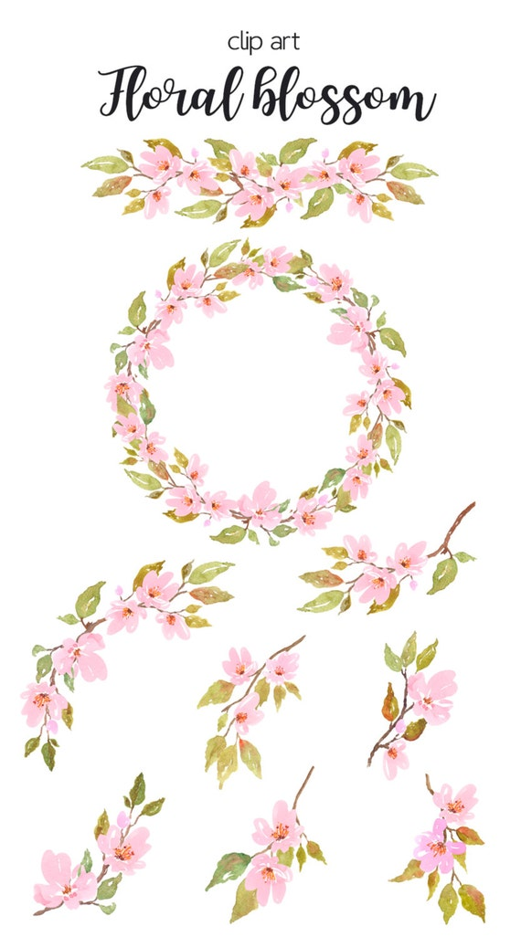Watercolor floral clipart - Cherry Blossom Watercolor ...