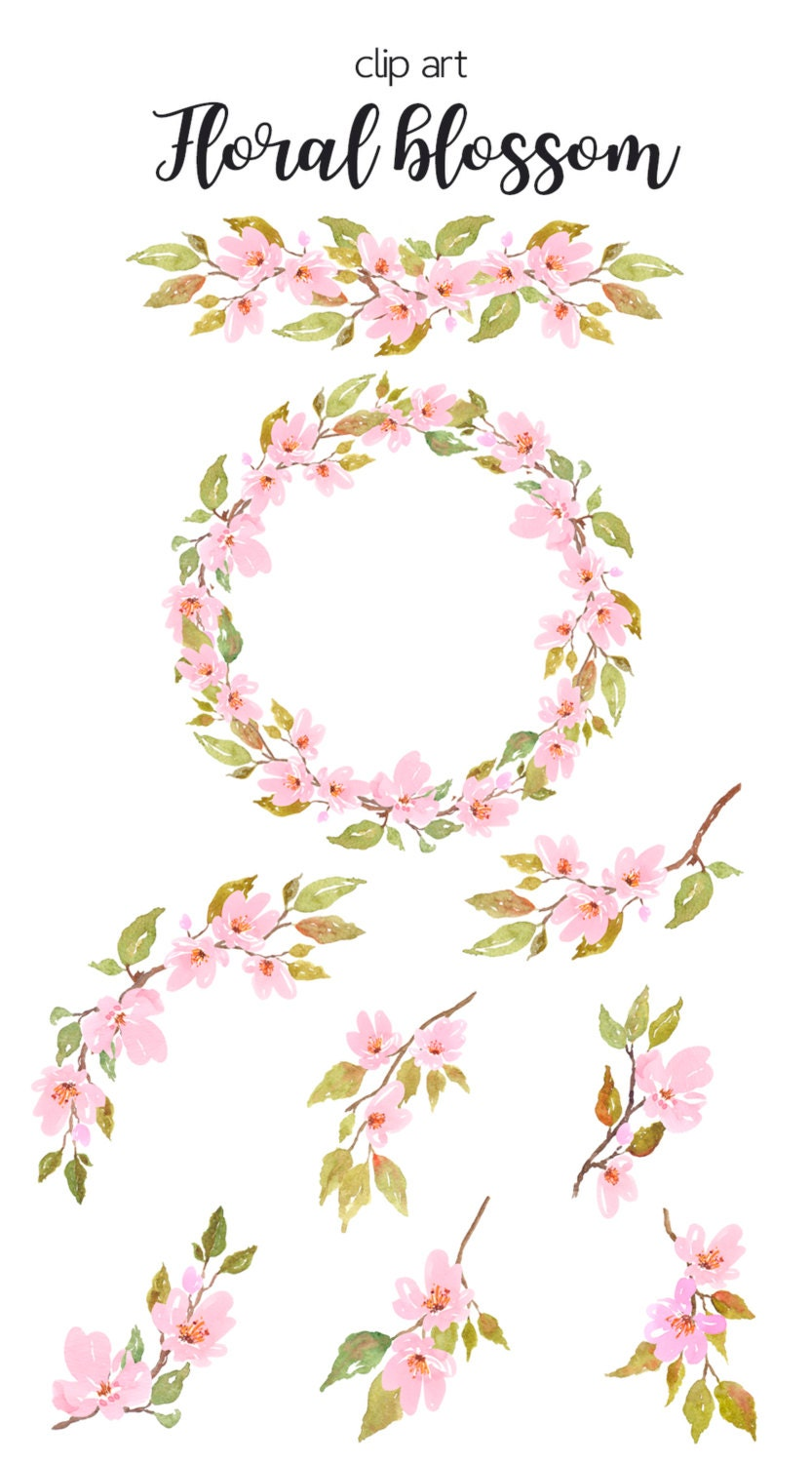 Watercolor floral clipart cherry blossom watercolor for Spring flowers watercolor