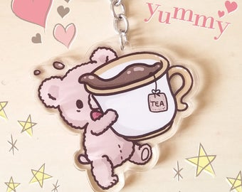 Tiny Teacup Bear Acrylic Charm - Teddy Bear Parade Acrylic Keychain